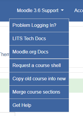 Screen shot of Moodle Support menu